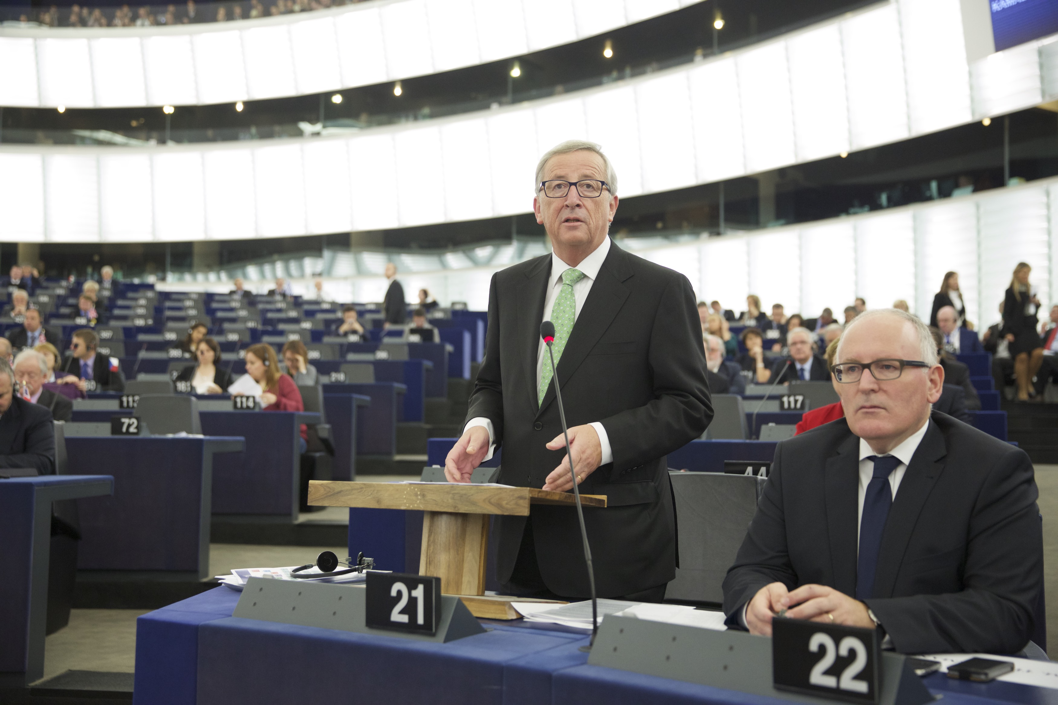 Voorzitter Jean Claude Juncker (links) en zijn 'rechterhand' Frans Timmermans. Foto: © European Union.